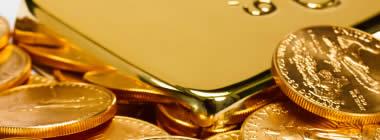 lingot et pièces en or